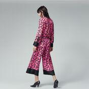 Warehouse, POPPY PRINT SILK TROUSER Pink Pattern 3