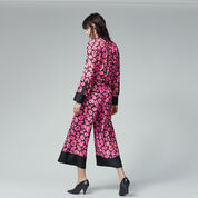 Warehouse, POPPY PRINT SILK TROUSER Pink Pattern 3