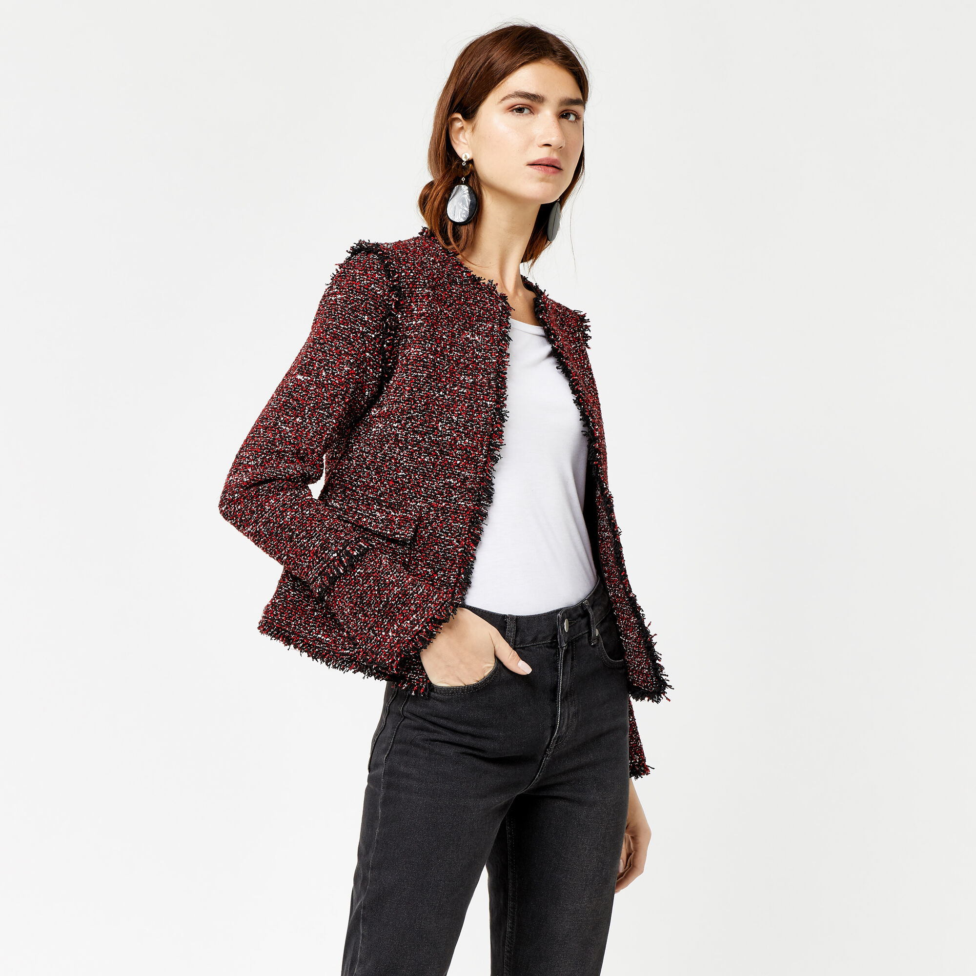 Warehouse, VICTORIA TWEED JACKET Bright Red 1
