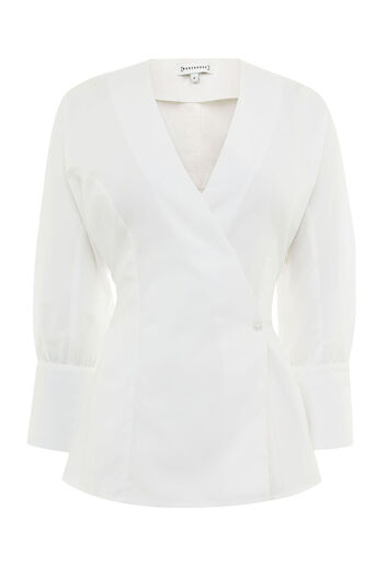 Warehouse, COTTON RUCHED DETAIL SHIRT White 0
