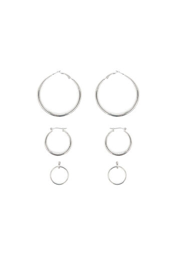 Warehouse, HOOP 3PK EARRINGS Silver Colour 0