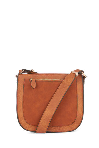 Warehouse, FRONT ZIP SADDLE CROSSBODY Tan 0