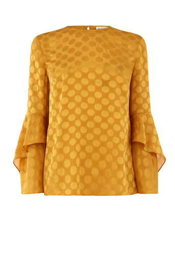 Warehouse, SPOT JACQUARD TOP Mustard 0