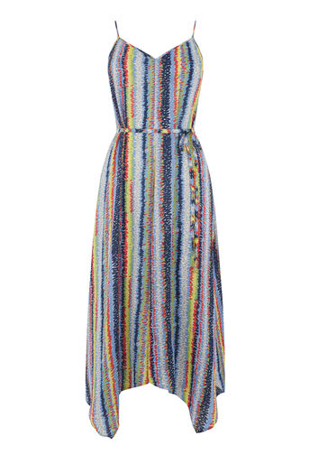 Warehouse, DASH STRIPE HANKY HEM DRESS Blue Pattern 0