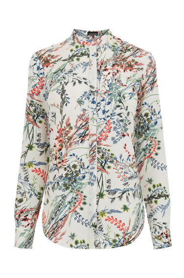 Warehouse, Meadow Floral Grandad Shirt Neutral  Print 0