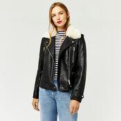 Warehouse, Fur Collar Faux Leather Biker Black 4