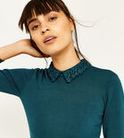 Warehouse, LACE COLLAR FLARE CUFF DRESS Dark Green 4