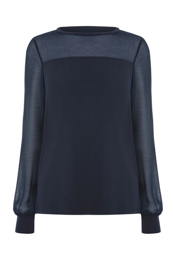 Warehouse, SHEER SLEEVE WOVEN MIX TOP Navy 0