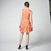 Warehouse, BONDED LACE PEPLUM DRESS Orange 3