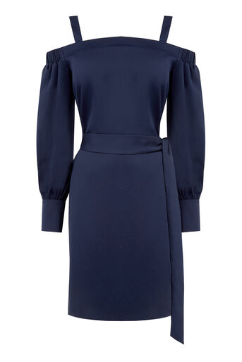 Warehouse, STRAPPY BARDOT DRESS Navy 0