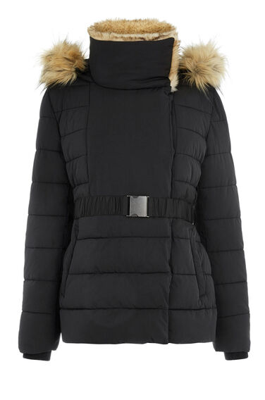 Warehouse, Short Luxe Padded Jacket Black 0