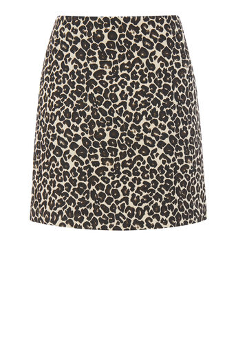 Warehouse, ANIMAL JACQUARD SKIRT Black 0