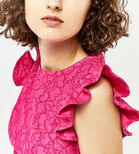 Warehouse, FRILL SLEEVE BONDED LACE DRESS Bright Pink 4