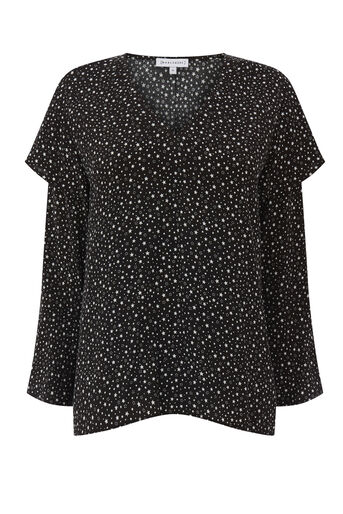 Warehouse, DITSY STAR FRILL SLEEVE TOP Black Pattern 0