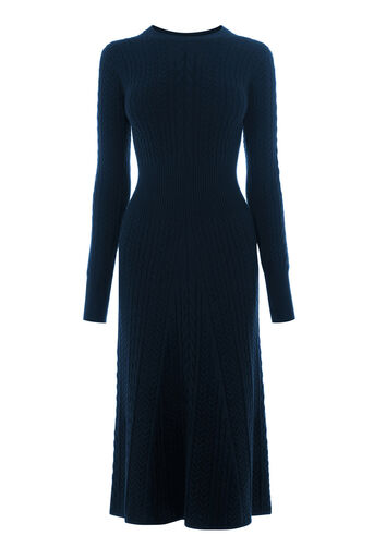 Warehouse, CABLE KNIT WAISTED DRESS Navy 0