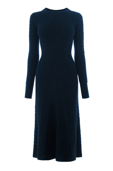 Warehouse, MINI CABLE WAISTED DRESS Navy 0