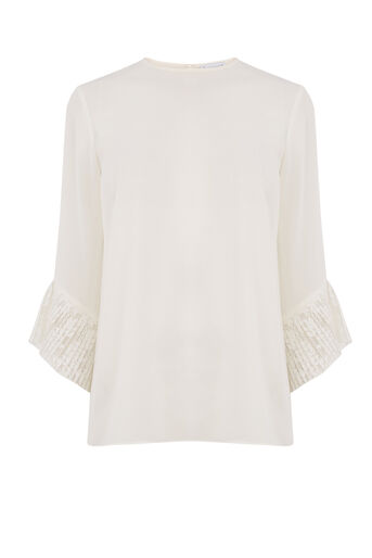 Warehouse, LACE CUFF TOP Cream 0