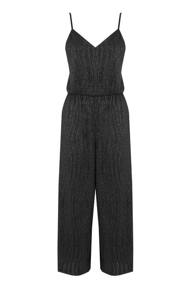 Warehouse, GLITTER PLISSE JUMPSUIT Black 0