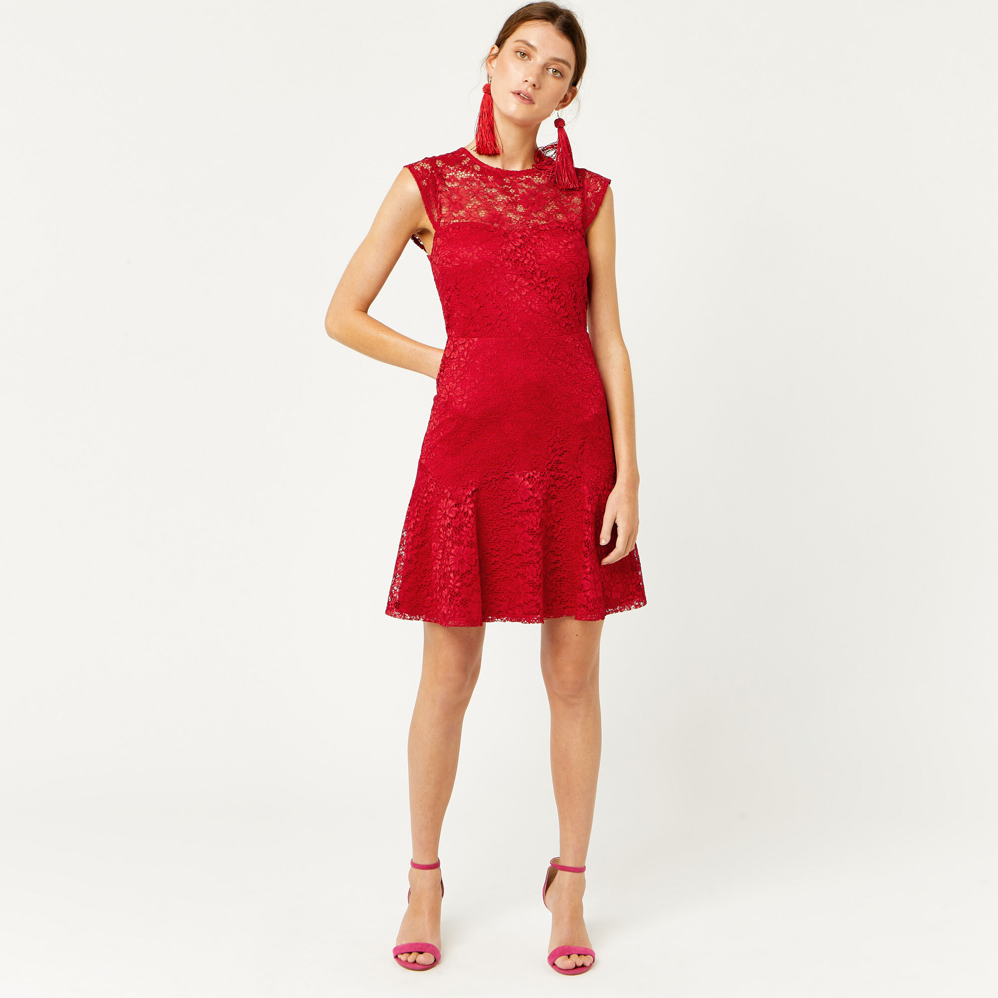 Warehouse, LACE SWEETHEART DRESS Bright Red 1