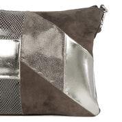 Warehouse, Leather Patchwork Crossbody Ba Light Grey 2