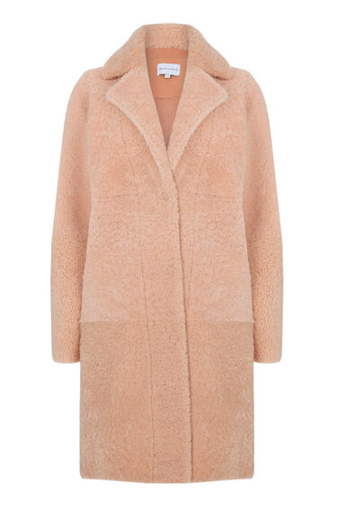 Warehouse, Shearling Car Coat Light Pink 0