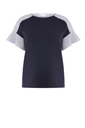 Warehouse, COTTON FLUTE POPLIN TEE Navy 0