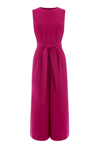 Warehouse, OPEN BACK CULOTTE JUMPSUIT Bright Pink 0