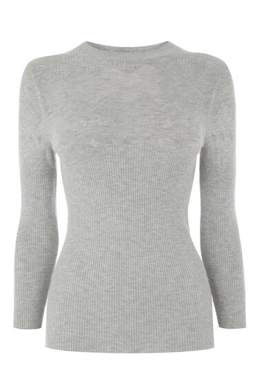 Warehouse, POINTELLE KNITTED TOP Light Grey 0
