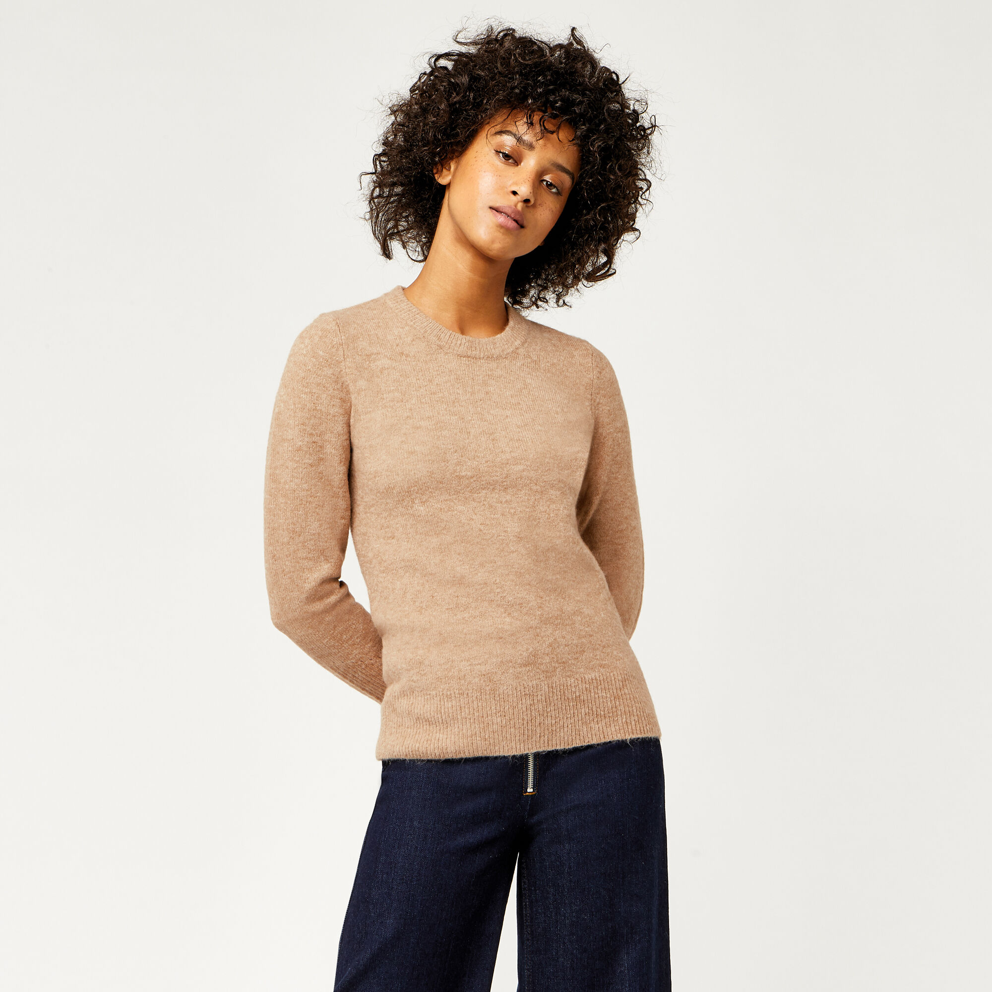 Warehouse, SOFT CREW JUMPER Stone 1