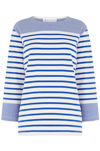 Warehouse, ENGINEERED STRIPE TOP Blue Stripe 0
