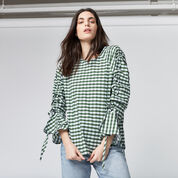 Warehouse, GINGHAM RUCHED SLEEVE TOP Dark Green 1