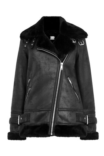 Warehouse, OVERSIZED BIKER JACKET Black 0