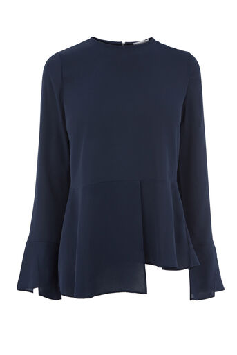 Warehouse, PEPLUM HEM TOP Navy 0