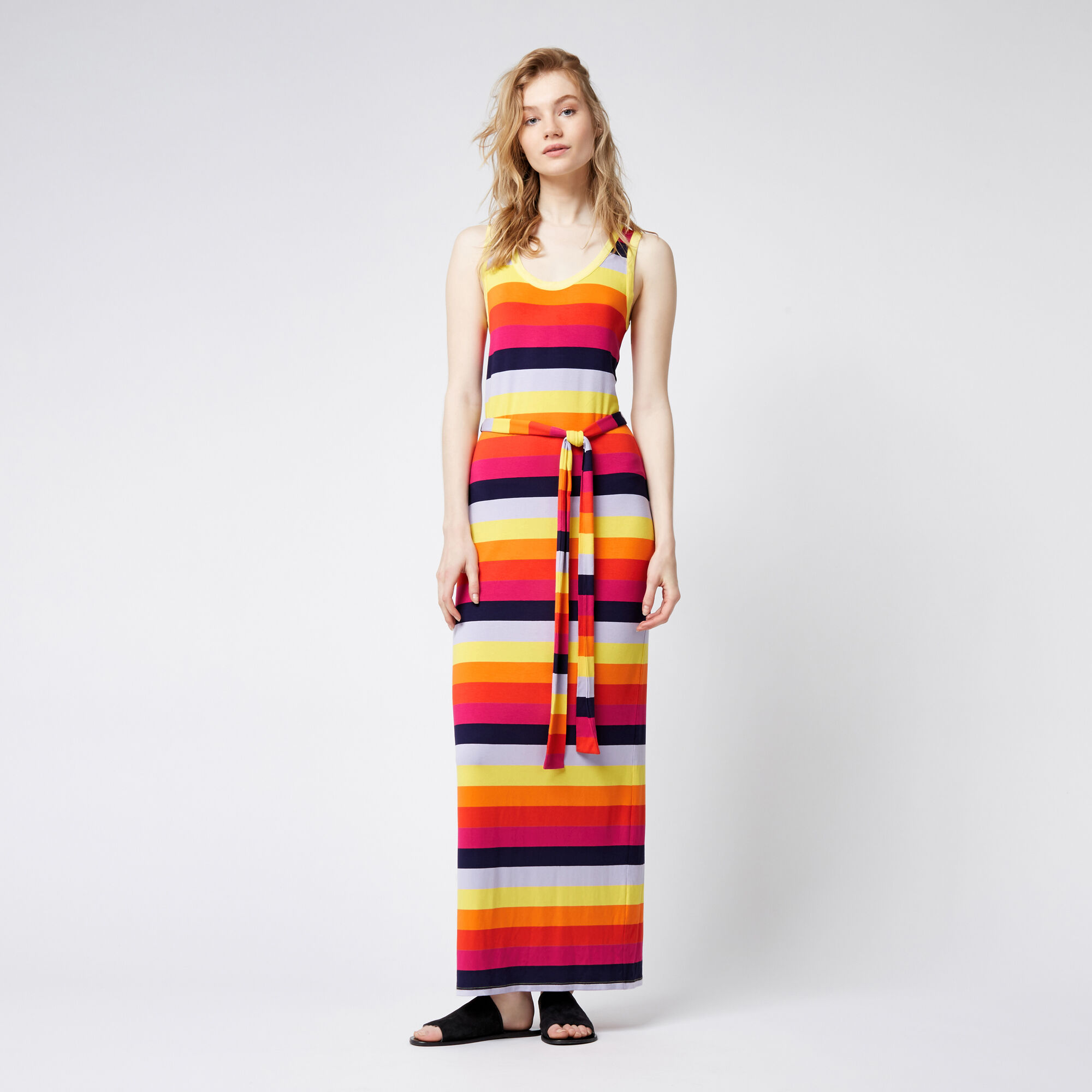 Warehouse, RAINBOW STRIPE MAXI DRESS Multi 1