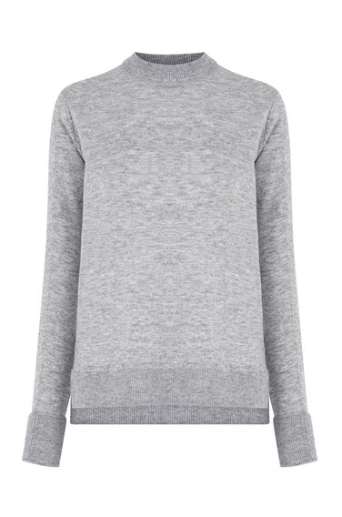 Warehouse, BOXY CREW JUMPER Light Grey 0