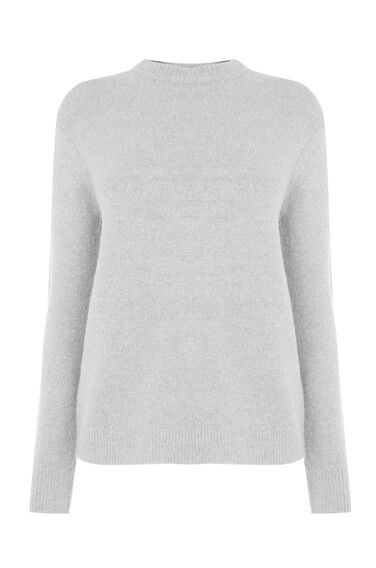 Warehouse, BOUCLE CREW JUMPER Light Grey 0