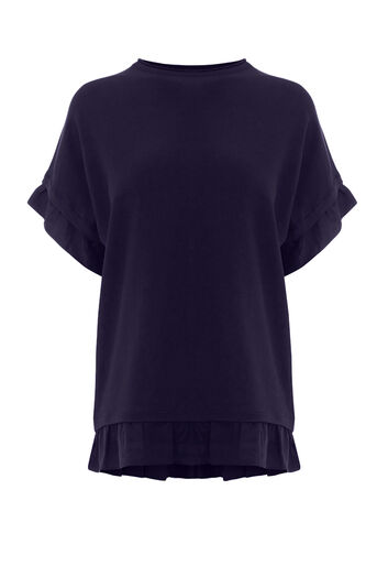 Warehouse, WOVEN HEM TOP Navy 0