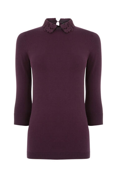 Warehouse, LACE COLLAR DETAIL JUMPER Berry 0