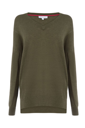 Warehouse, V NECK LONG LINE JUMPER Khaki 0