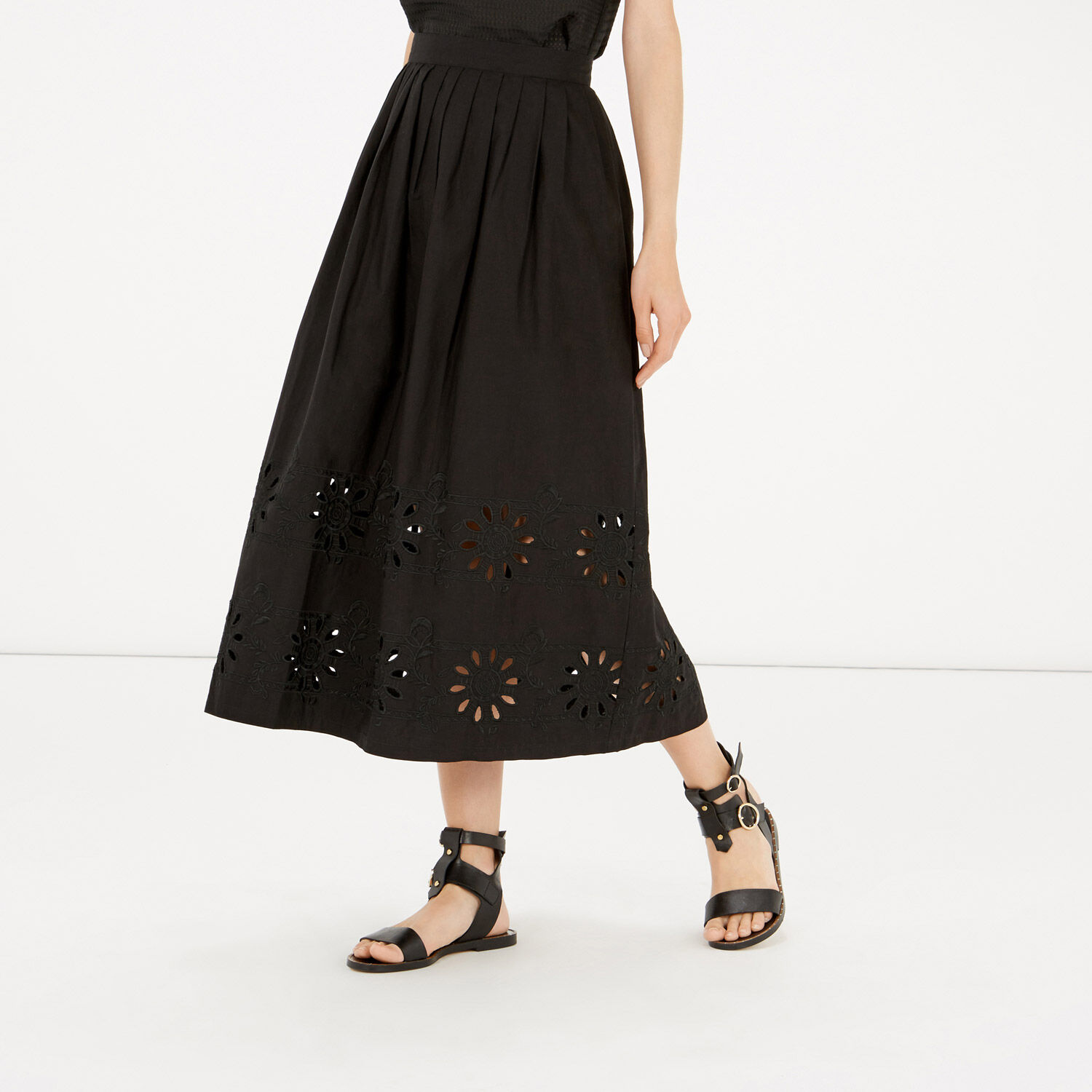Warehouse, Embroidered Midi Skirt Black 1