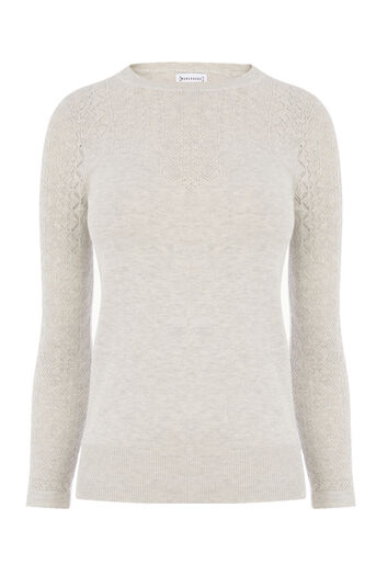 Warehouse, PRETTY STITCH YOKE JUMPER Light Grey 0