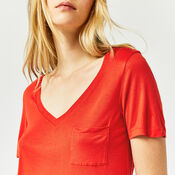 Warehouse, V NECK SMART TEE Bright Red 4