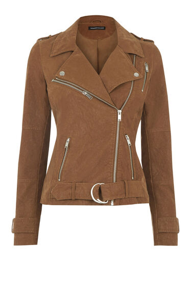Warehouse, Faux Nubuck Biker Jacket Tan 0