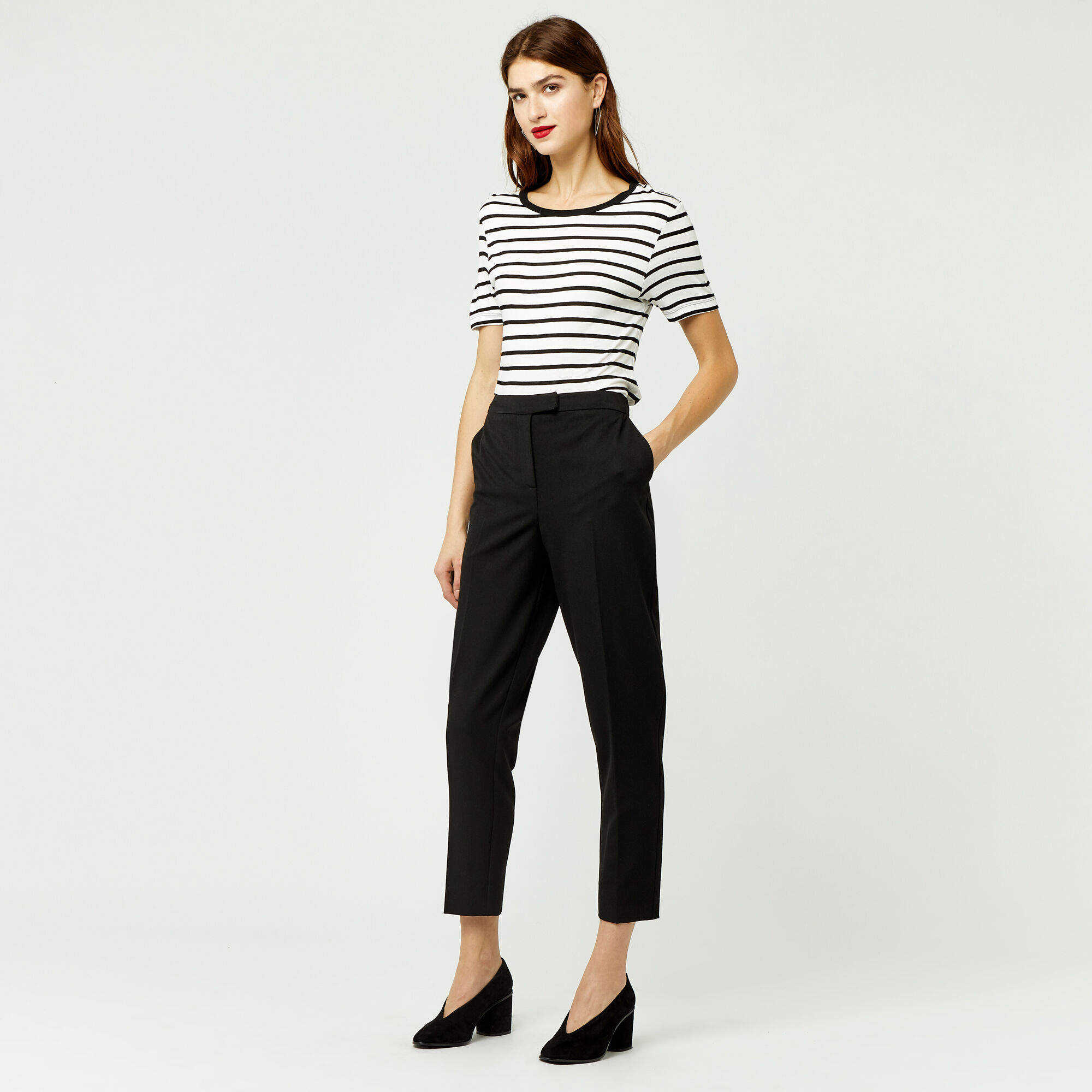 Warehouse, CLASSIC SLIM LEG TROUSER Black 1