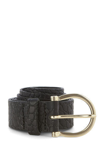 Warehouse, LEATHER CROC JEANS BELT Black 0