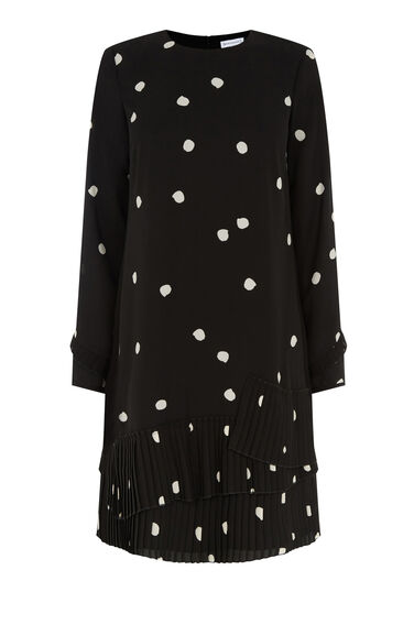 Warehouse, DOTTY SPOT PLEATED SHIFT DRESS Black Pattern 0