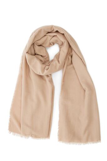 Warehouse, Halfzware sjaal met grote overslag Beige 0