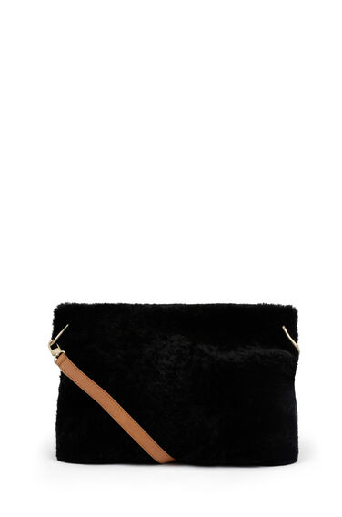 Warehouse, SHEEPSKIN SLOUCHY BAG Black 1
