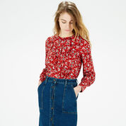 Warehouse, Floral Button Back Blouse Red Pattern 1