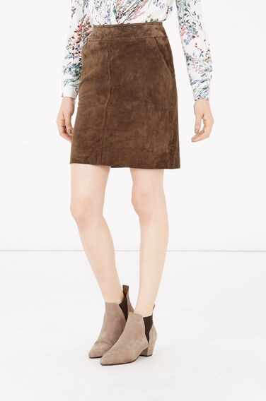 Warehouse, Suede Skirt Brown 0